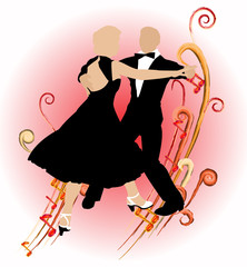 Silhouette dancing couple_