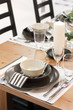 White and brown dining table