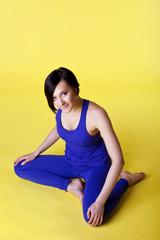 happy woman prepare for yoga training
