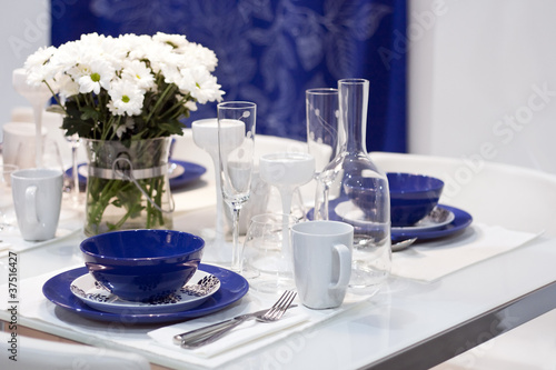 White and blue dining table