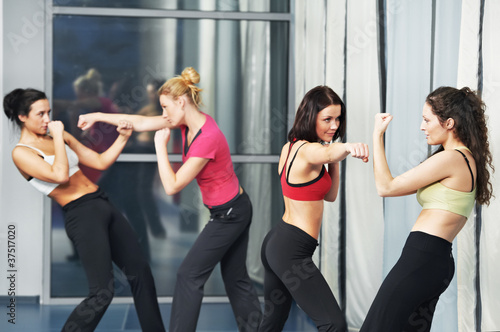 healthy woman at fitness fighting training
