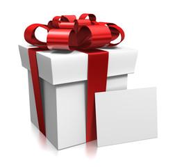 Cadeau 3d rouge et blanc avec carton