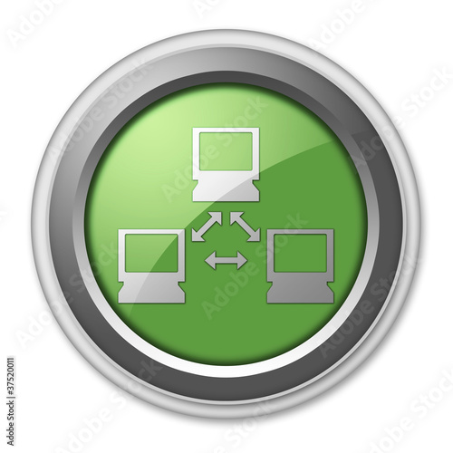 "Green 3D Style Button ""Network"""