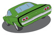 Green muscle car with black stripe drawing