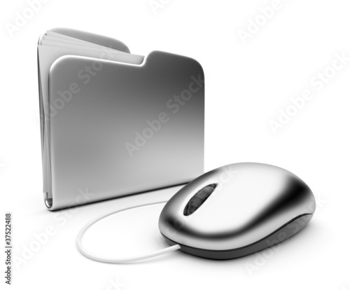 Computer mouse and silver folder.  3D illustration isolated on w