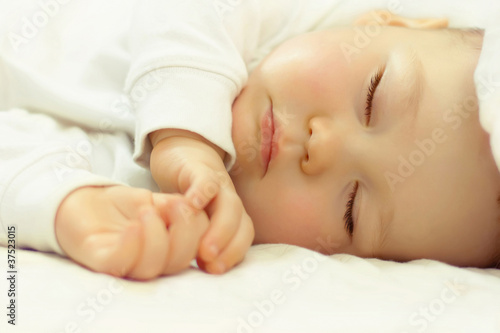close-up portrait of adorable sleeping baby
