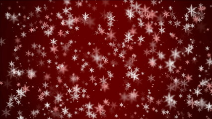 falling snow on red background