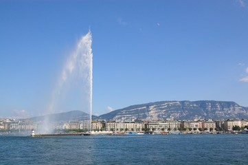 Jet d'Eau fountain in Geneva