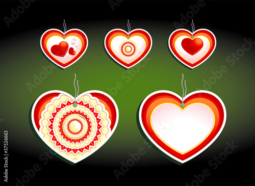 Set of color labels, on a dark background. Hearts and flowers th
