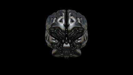 3D Chrome Brain 360° Video auf Schwarz