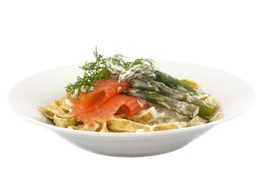 Tagliatelle with smoked trout and asparagus