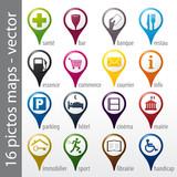 Fototapety set 16 icons, pictos, symboles, logos