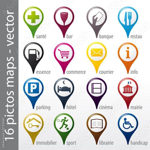 set 16 icons, pictos, symboles, logos