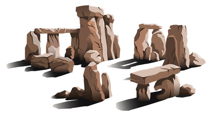 Ancient stone circle, place of magic and worship, vector