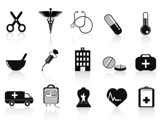 black medical icons set