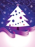 christmas tree card in purple colors