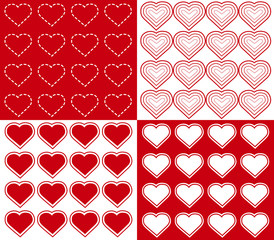 Seamless Hearts Backgrounds, EPS includes 4 pattern tiles.