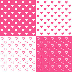 Seamless Tiny Hearts Background, EPS includes 4 pattern tiles.