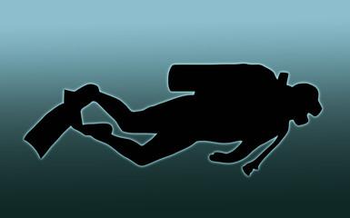 Blue Back Scuba Diver