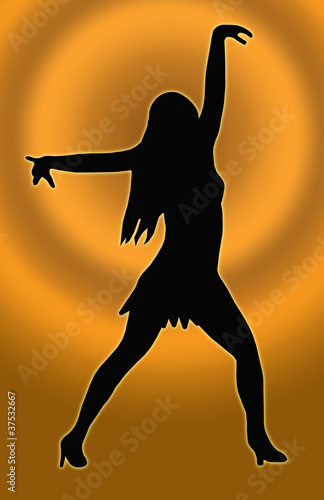 Gold Circle Back Dancing Girl Spread Arms Pose