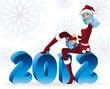 Santa girl and new 2012 year