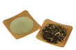 Fine powder Matcha Tea and Japanese Green Tea on wooden bowl
