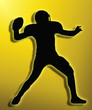 Golden Back Silhouette American Football Quarterback Throw
