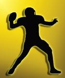Golden Back Silhouette American Football Quarterback Throw