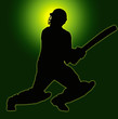 Green Gold Back Sport Silhouette - Cricket Batsman