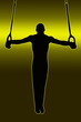 Green Gold Back Sport Silhouette - Gymnast on Rings