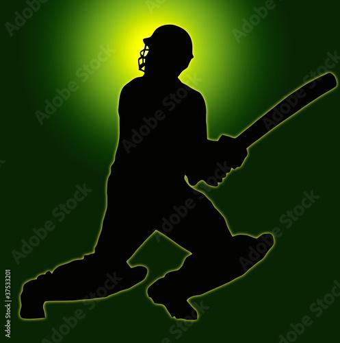 Green Gold Back Sport Silhouette - Cricket Batsman