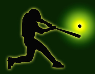 Green Back Baseball Batter Hitting Ball