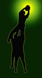 Green Glow Sport Silhouette - Rugby Players Supporting Lineout J