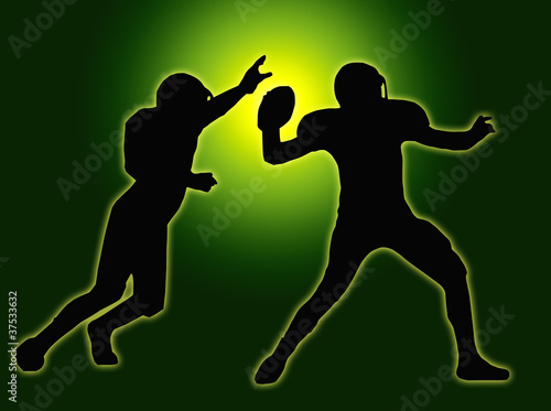 Green Glow Silhouette American Football Quarterback and Defender