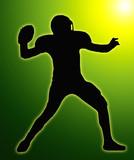 Green Glow Silhouette American Football Quarterback Throw