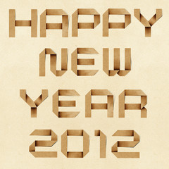 Happy new year 2012  Recycled PaperCraft Background.