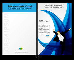 Template for advertising brochure with people