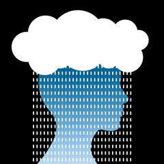 Human head with cloud and rain. Concern concept.