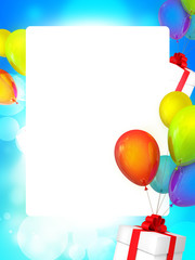 Holiday Frame on background with baloons