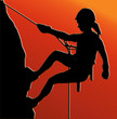 Sunset Back Abseiling Lady