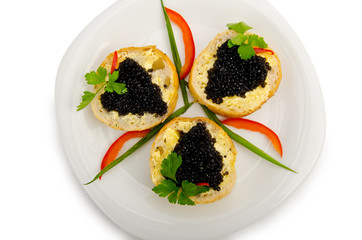 Black caviar in the plate