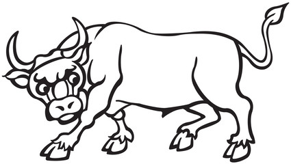 Cartoon  Black and White Bull