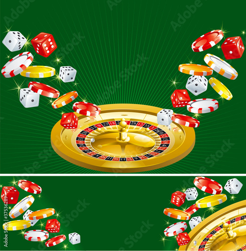 Background and banner of casino dices, chips and roulette