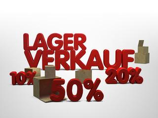 Lagerverkauf Restposten 3D Kisten Schriftzug Prozente