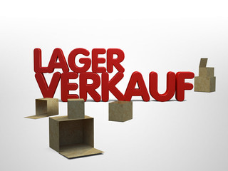 Lagerverkauf Restposten 3D Kisten Schriftzug