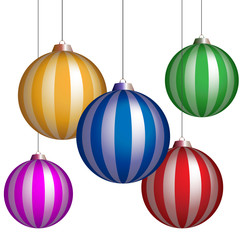 series of christmas balls