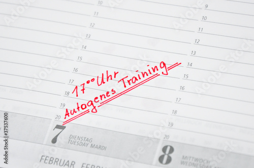 autogenes Training termin im kalender notiert