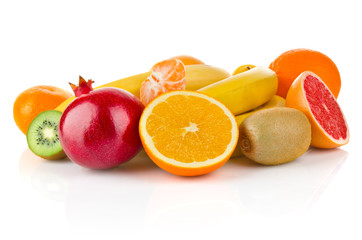 fruity still life isolated on white background