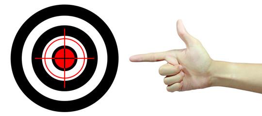 man hand point target