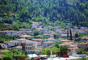 The buildings of the ancient city of Berat in Albania
